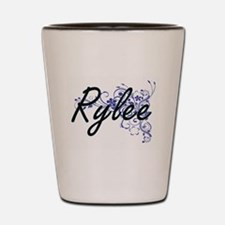 Rylee Artistic Name Design with Flowers Shot Glass