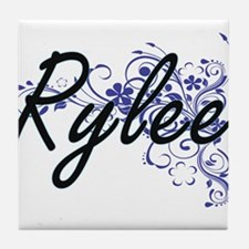 Rylee Artistic Name Design with Flowe Tile Coaster