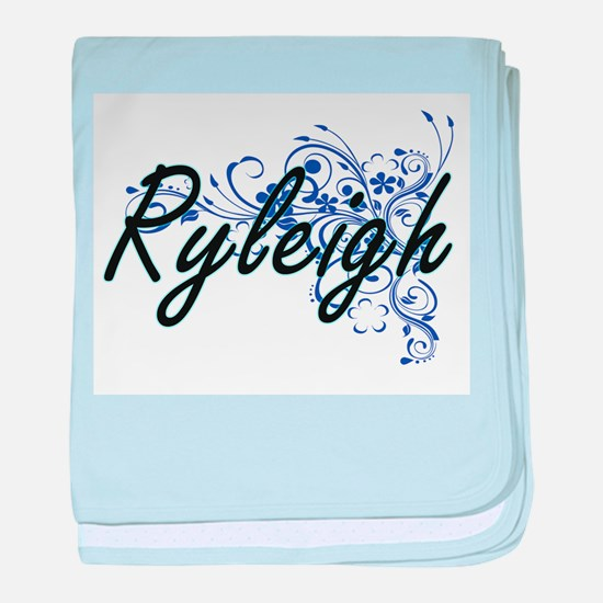 Ryleigh Artistic Name Design with Flo baby blanket