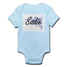 Sadie Artistic Name Design with Flowers Body Suit