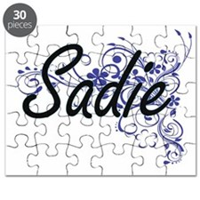 Sadie Artistic Name Design with Flowers Puzzle