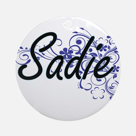 Sadie Artistic Name Design with Flo Round Ornament