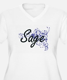 Sage Artistic Name Design with F Plus Size T-Shirt
