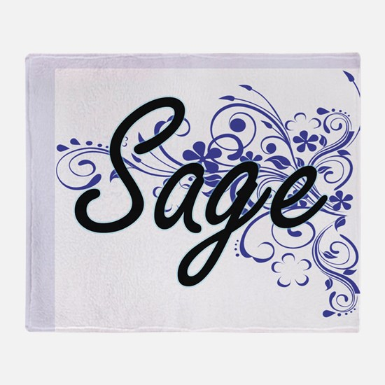 Sage Artistic Name Design with Flowe Throw Blanket