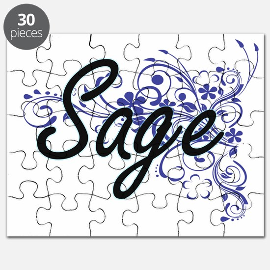 Sage Artistic Name Design with Flowers Puzzle