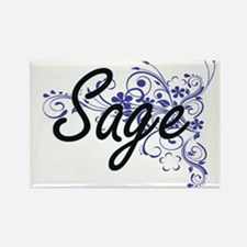 Sage Artistic Name Design with Flowers Magnets