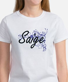 Saige Artistic Name Design with Flowers T-Shirt