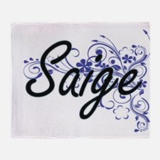 Saige Artistic Name Design with Flow Throw Blanket