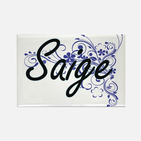 Saige Artistic Name Design with Flowers Magnets