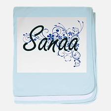 Sanaa Artistic Name Design with Flowe baby blanket