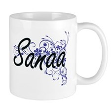 Sanaa Artistic Name Design with Flowers Mugs