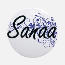 Sanaa Artistic Name Design with Flo Round Ornament