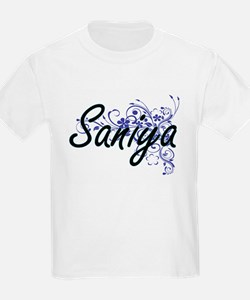 Saniya Artistic Name Design with Flowers T-Shirt