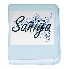 Saniya Artistic Name Design with Flow baby blanket