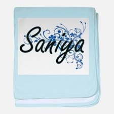 Saniya Artistic Name Design with Flow baby blanket