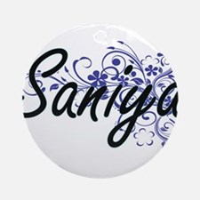 Saniya Artistic Name Design with Fl Round Ornament