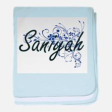 Saniyah Artistic Name Design with Flo baby blanket
