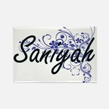 Saniyah Artistic Name Design with Flowers Magnets