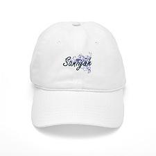 Saniyah Artistic Name Design with Flowers Baseball Cap