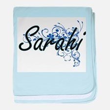 Sarahi Artistic Name Design with Flow baby blanket
