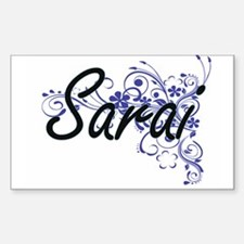 Sarai Artistic Name Design with Flowers Decal