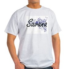 Savana Artistic Name Design with Flowers T-Shirt