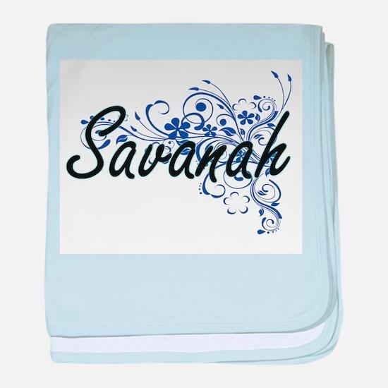 Savanah Artistic Name Design with Flo baby blanket