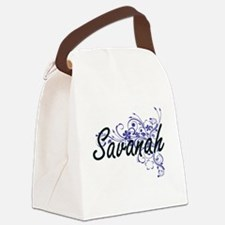 Savanah Artistic Name Design with Canvas Lunch Bag