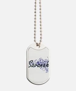Savanah Artistic Name Design with Flowers Dog Tags