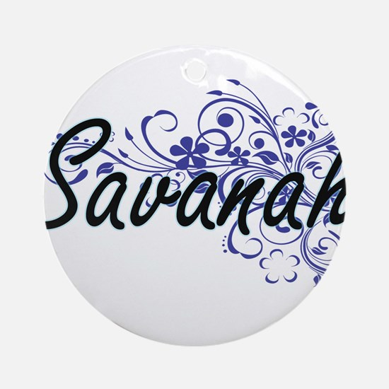Savanah Artistic Name Design with F Round Ornament