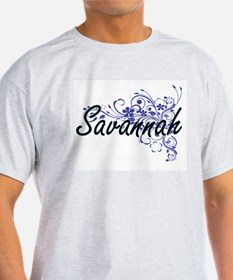 Savannah Artistic Name Design with Flowers T-Shirt