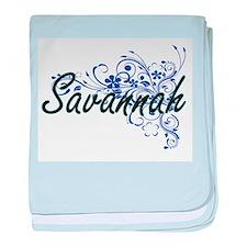 Savannah Artistic Name Design with Fl baby blanket