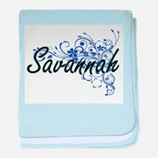Savannah Artistic Name Design with Fl baby blanket