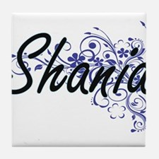 Shania Artistic Name Design with Flow Tile Coaster