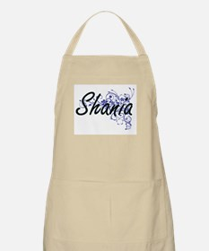 Shania Artistic Name Design with Flowers Apron