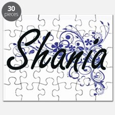 Shania Artistic Name Design with Flowers Puzzle