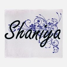Shaniya Artistic Name Design with Fl Throw Blanket