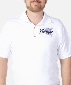 Shannon Artistic Name Design with Flowe T-Shirt