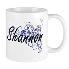 Shannon Artistic Name Design with Flowers Mugs