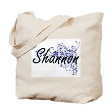 Shannon Artistic Name Design with Flowers Tote Bag