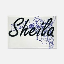 Sheila Artistic Name Design with Flowers Magnets