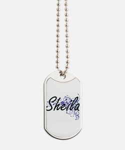 Sheila Artistic Name Design with Flowers Dog Tags