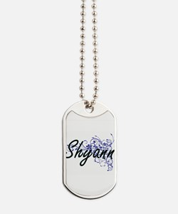 Shyann Artistic Name Design with Flowers Dog Tags