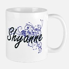 Shyanne Artistic Name Design with Flowers Mugs