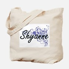 Shyanne Artistic Name Design with Flowers Tote Bag