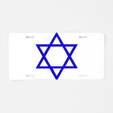 Blue Star of David Aluminum License Plate