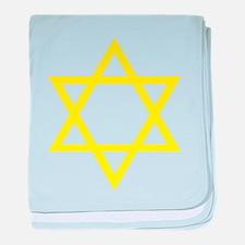 Yellow Star of David baby blanket