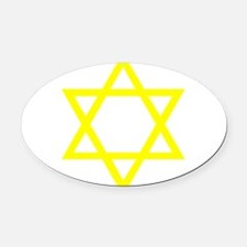 Yellow Star of David Oval Car Magnet