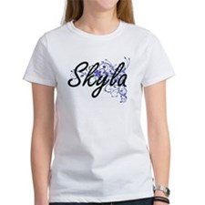 Skyla Artistic Name Design with Flowers T-Shirt