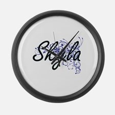Skyla Artistic Name Design with F Large Wall Clock